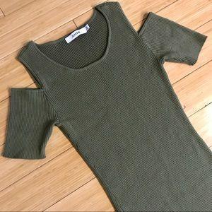 JustFab Cold Shoulder Rib Sweater Dress